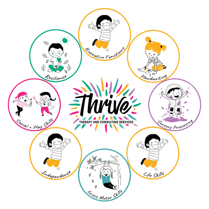 Key focus areas of occupational therapy with children, including fine motor skills, gross motor skills, executive function skills, social/play skills, resilience/ mental health, handwriting and sensory processing